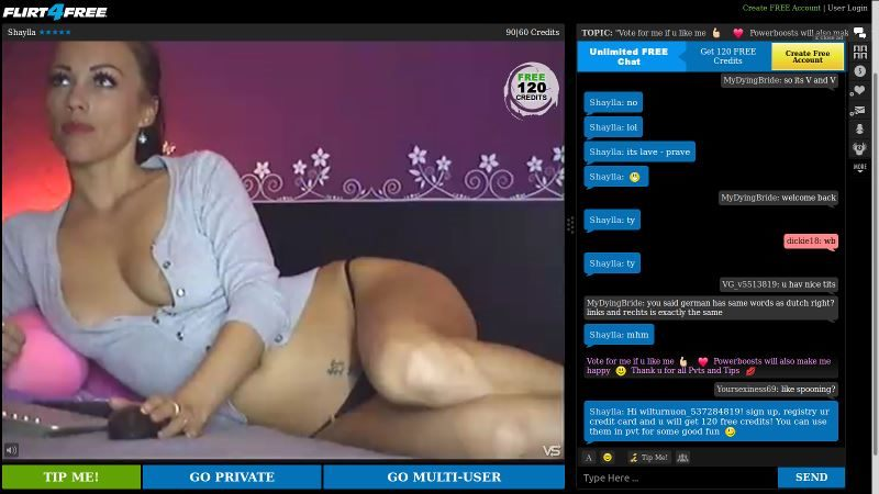 Flirt4Free chatroom example
